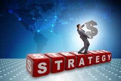 Het de dollarteken van de zakenmanholding in strategieconcept Royalty-vrije Stock Fotografie