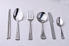 Het de geïsoleerdeo vork, mes en de lepel van eetstokjes Stock Afbeeldingen