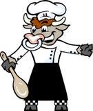 Het de gelukkige status en onthaal van de Stierenchef-kok met een gehesen lepel in zijn Royalty-vrije Stock Foto