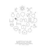 Het de geneeskundepictogram van de cirkellijn Stock Afbeelding