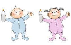 Het de glimlachende Jongen en Meisje van Babys stock illustratie