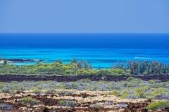 Het de grote lava en overzees van eilandhawaï Stock Afbeelding