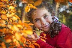 In het de herfstbos, in het gele gebladerte een weinig krullende meisje stock fotografie
