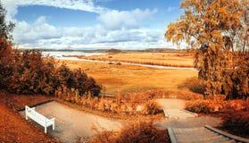 Het de herfstpark van het de herfstlandschap met rivier en de herfstbomen in de bewolkte herfst doorstaat Stock Foto