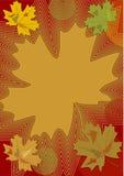 Het de herfstthema in de nostalgische kleuren met kleurrijke esdoorn gaat weg en buigt, achtergrond voor eigen teksten in oker, d Stock Afbeelding