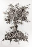 Het de illustratieconcept van de boomtekening maakte in as, stof, vuil, zand Royalty-vrije Stock Foto