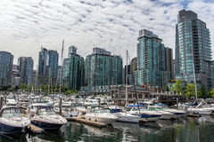 Het de jachthavengebied van de binnenstad van Vancouver Stock Afbeelding