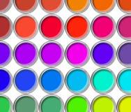 Het de kleurenpalet van verfblikken, blikken opende hoogste mening Stock Afbeeldingen