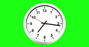 Het de klok van ` s zeven o ` reeds, tijd om voor ontbijt, de moderne witte metaalklok van de alarmmuur op het chroma zeer belang royalty-vrije illustratie