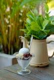 ` Het de kubusbrood van de steekyen ` in ijskristallen met stroop en melk is een Zoet dessert in Thailand in traditionele stijl o Royalty-vrije Stock Afbeeldingen