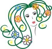 Het de lentemeisje, gezicht, overzicht, bloeit, voor embleem, adreskaartje Royalty-vrije Stock Foto's