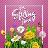 Het de lentetijd van ` s Mooie weidebloemen op gestreepte purpere achtergrond stock illustratie