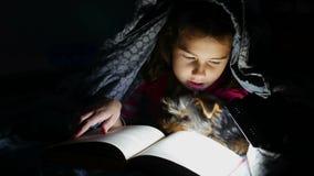 Het de lezingsmeisje van het tienerkind leest een boekhond bij nacht die met flitslicht onder een deken liggen stock footage