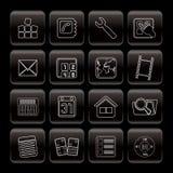 Het de Mobiele Telefoon van de lijn en pictogram van de Computer Royalty-vrije Stock Foto