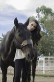 Het de Mooie vrouw en paard van de kunstmanier Royalty-vrije Stock Foto