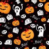 Het de naadloze grappige pompoen en spoor van Halloween. Stock Afbeeldingen