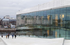 Het de Operahuis van Oslo in Noorwegen Stock Afbeelding