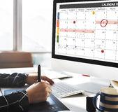 Het de Organisatiebeheer van de kalenderontwerper herinnert Concept eraan Stock Afbeeldingen