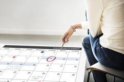 Het de Organisatiebeheer van de kalenderontwerper herinnert Concept eraan Stock Foto's