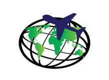 Het de planeetkaart en vliegtuig rond de wereld voor embleem ontwerpen vector, bolpictogram, reissymbool royalty-vrije illustratie