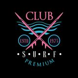 Het de premieembleem estd 1975, ontwerpelement van de brandingsclub kan voor het surfen van club, winkel, t-shirtdruk, embleem, k royalty-vrije illustratie