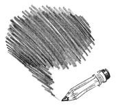 Het in de schaduw stellen van het potlood vector illustratie