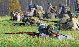 Het de slag historische weer invoeren van Moskou Stock Afbeelding