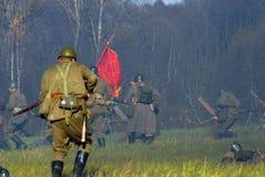 Het de slag historische weer invoeren van Moskou Stock Foto