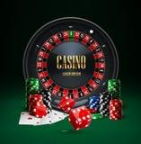 Het de spaandersrood van het roulettecasino dobbelt realistische voorwerpen Stock Foto's