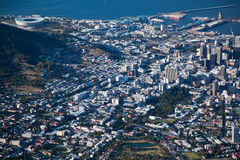 Het de stadscentrum van Kaapstad viwed van Lijst Mountian royalty-vrije stock fotografie