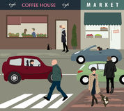 Het de straatleven van de stad stock illustratie