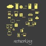 Het de symbolen eenvoudige banner eps10 van het computervoorzien van een netwerk vector illustratie