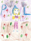 Het de tekenings dansende cheerleading meisje van een Kind Stock Foto