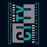 Het de typografieontwerp van Brooklyn voor t-shirt drukt ander gebruik vector illustratie