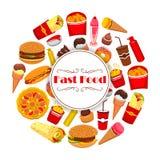 Het de vectoraffiche of menu van de snel Voedselmaaltijd Stock Fotografie