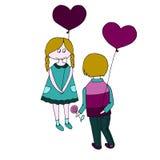 Het de vectorjongen en meisje van het illustratiebeeld met ballons Stock Foto