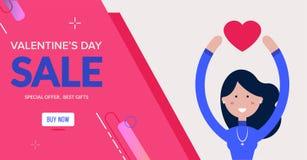 Het de verkoopontwerp van de valentijnskaartendag met geniet van meisje Stock Afbeelding