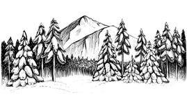 Het de winterbos in bergen overhandigt getrokken illustratie Royalty-vrije Stock Fotografie
