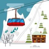 Het de winterlandschap met skitoevlucht, ski?t kabelbaan en hotels Stock Fotografie