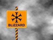 Het de winterwaarschuwingsbord toont gevaar van ijs en sneeuw bij straat, weg of weg Risico van het blizzardteken van het geïsole stock illustratie