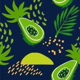 Het de zomerpatroon met abstracte avocado, tropische installaties en palm vertakt zich op donkere achtergrond Ornament voor texti vector illustratie