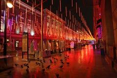 Het decor 's nachts Moskou van de nieuwjaarstraat Royalty-vrije Stock Foto