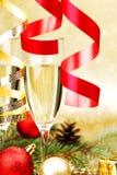 Het decor van Champagne en van Kerstmis Royalty-vrije Stock Afbeelding