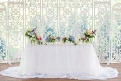 Het decor van de huwelijkslijst Stock Afbeeldingen