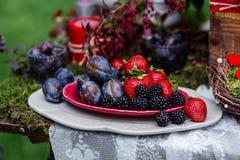 Het decor van de huwelijkslijst: ceramische schotels met pruimen, aardbeien die, braambessen, zich op het het kanttafelkleed en m Stock Fotografie