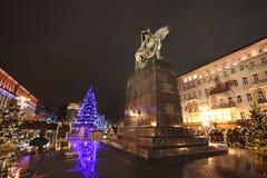 Het decor van de nieuwjaarstraat in 's nachts Moskou Stock Afbeelding