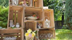 Het decor van het huwelijk stock video