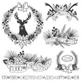 Het decor van Kerstmis Takken, puansetiya, linten zwart stock illustratie