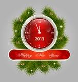 Het decoratieve etiket van het nieuwjaar Stock Foto