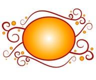 Het decoratieve Gouden Rode Embleem van het Web Stock Afbeeldingen